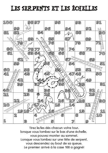 """Résultat de recherche d'images pour """"jeu échelles et serpents à imprimer"""""""