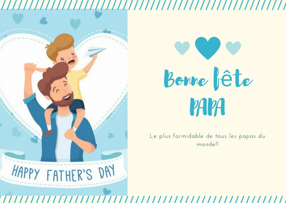 Blue Simple Heart Father's Day Card